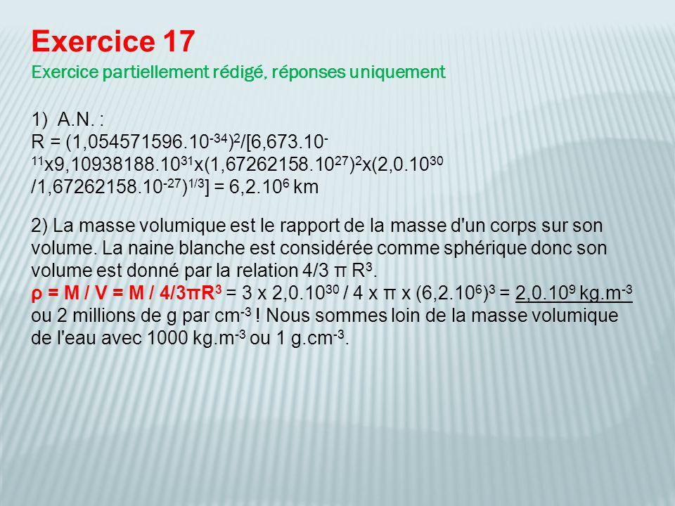 Exercice 17 Exercice partiellement rédigé, réponses uniquement