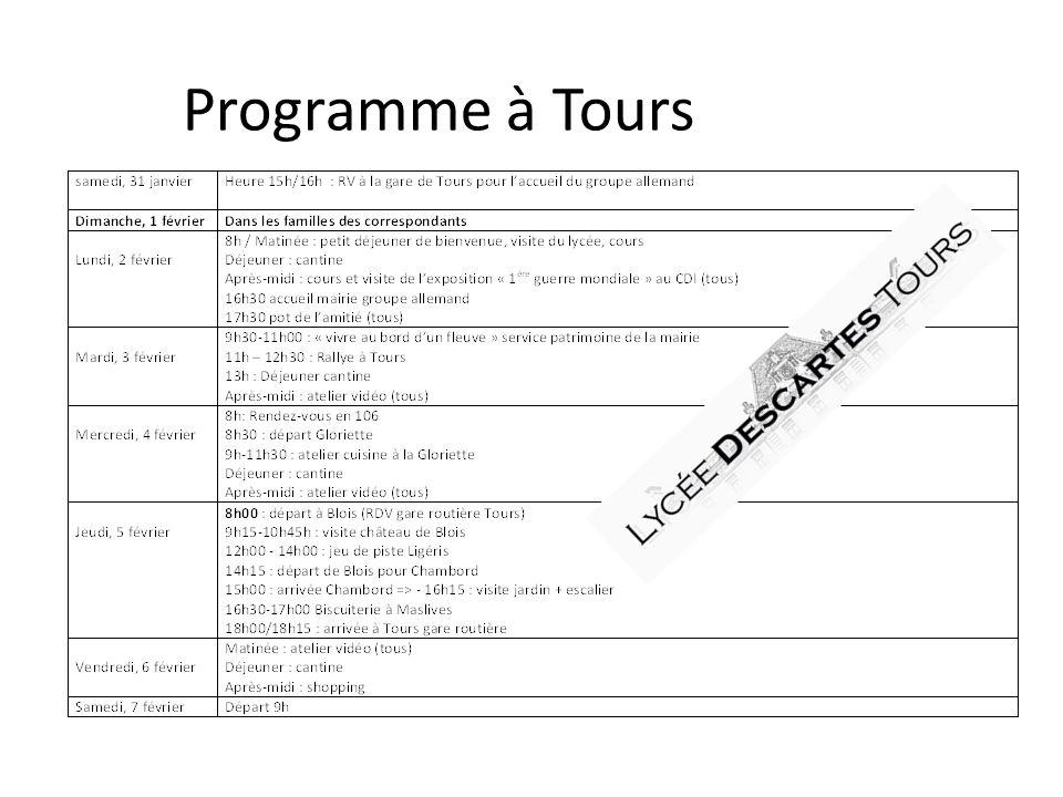 Programme à Tours