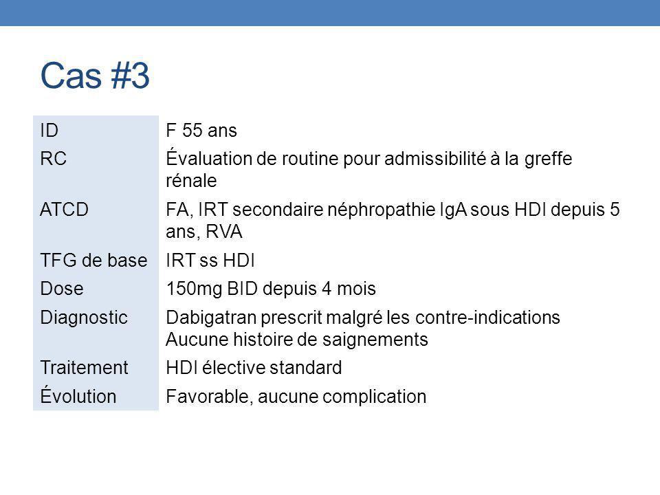 Cas #3 ID. F 55 ans. RC. Évaluation de routine pour admissibilité à la greffe rénale. ATCD.