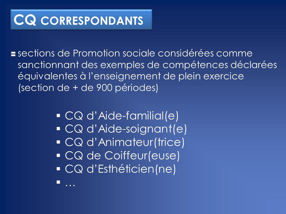CQ correspondants CQ d'Aide-familial(e) CQ d'Aide-soignant(e)