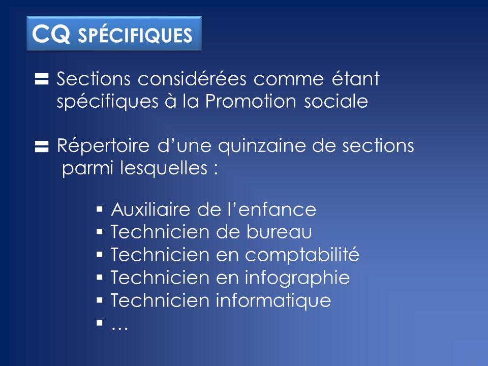CQ spécifiques Sections considérées comme étant spécifiques à la Promotion sociale. Répertoire d'une quinzaine de sections parmi lesquelles :