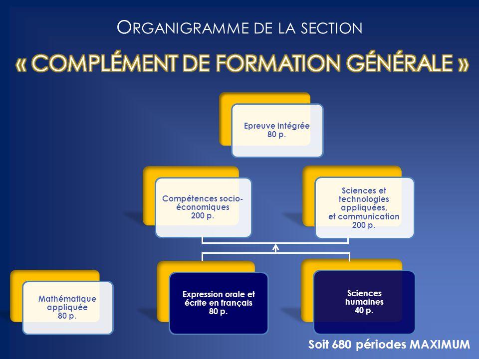 Organigramme de la section « COMPLÉMENT DE FORMATION GÉNÉRALE »