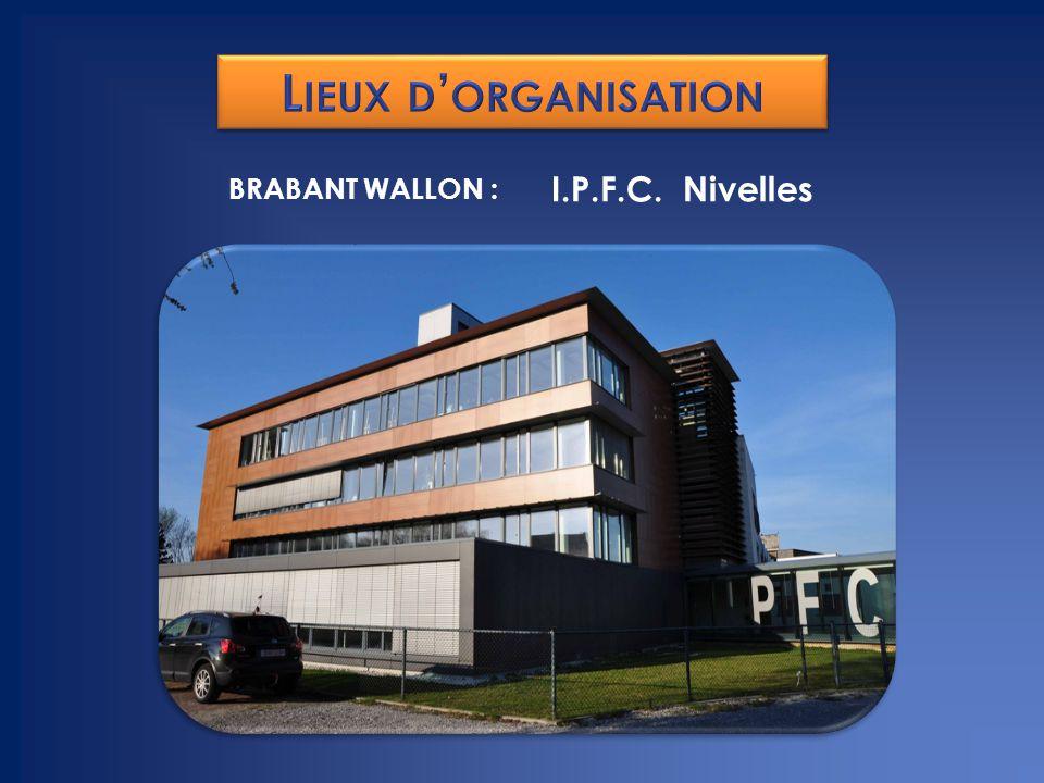 Lieux d'organisation BRABANT WALLON : I.P.F.C. Nivelles