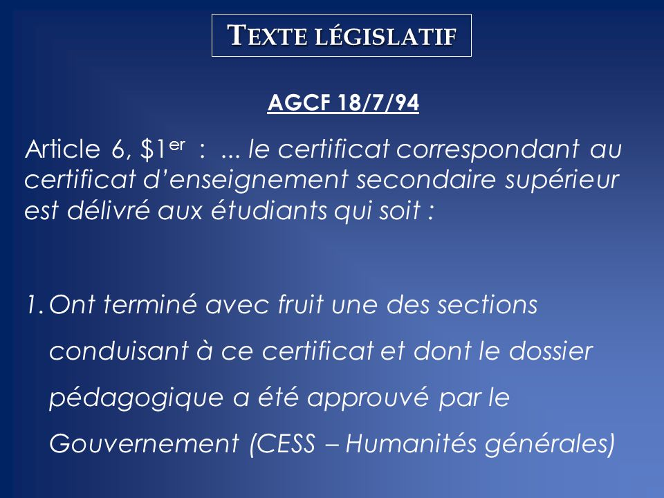 Texte législatif AGCF 18/7/94.
