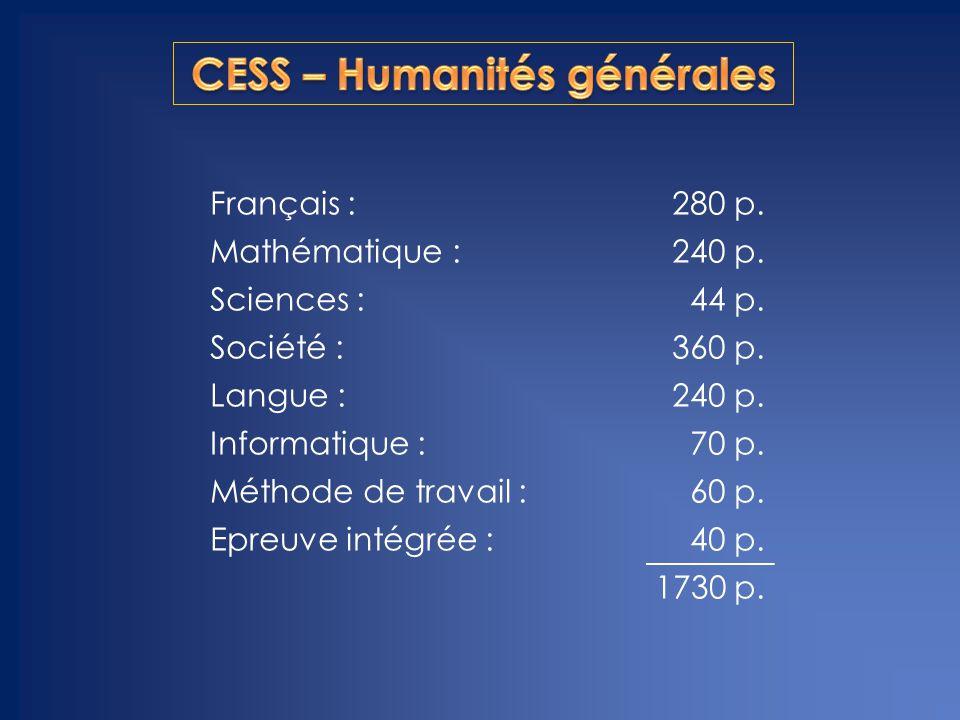CESS – Humanités générales