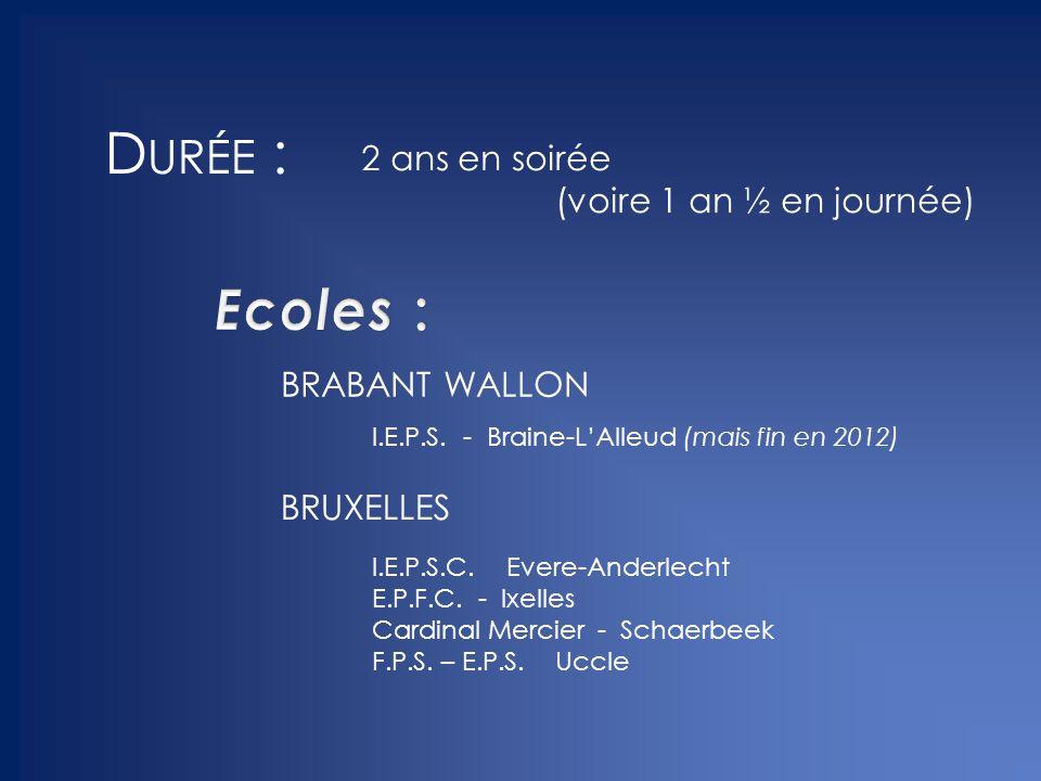 Durée : Ecoles : BRABANT WALLON BRUXELLES