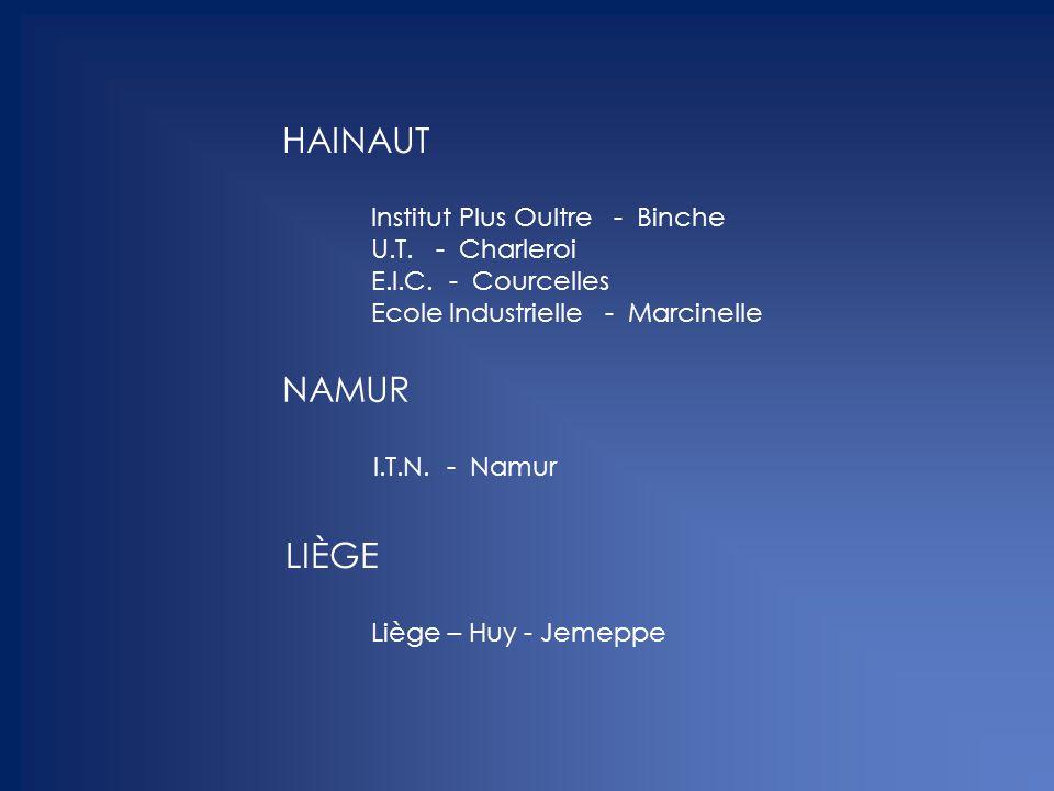HAINAUT NAMUR LIÈGE Institut Plus Oultre - Binche U.T. - Charleroi