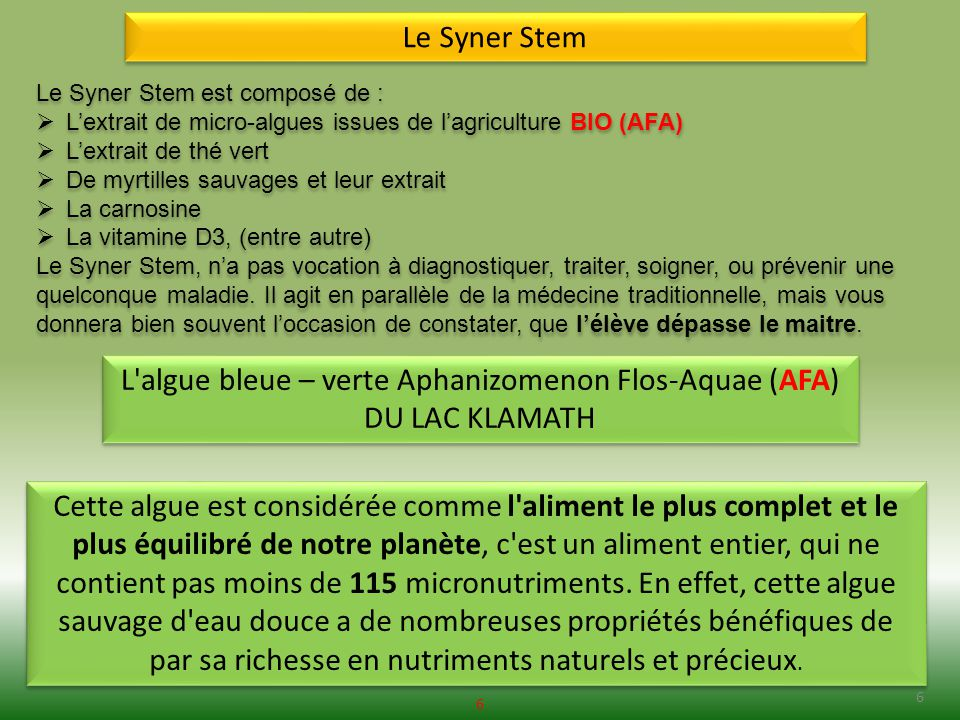 L algue bleue – verte Aphanizomenon Flos-Aquae (AFA)