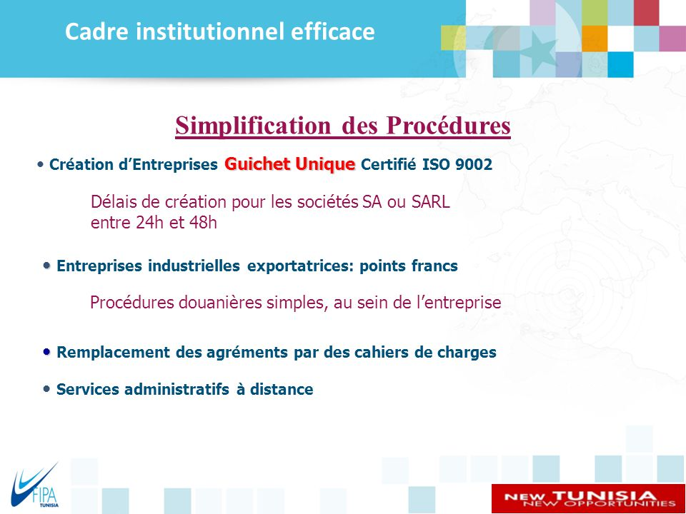 Cadre institutionnel efficace