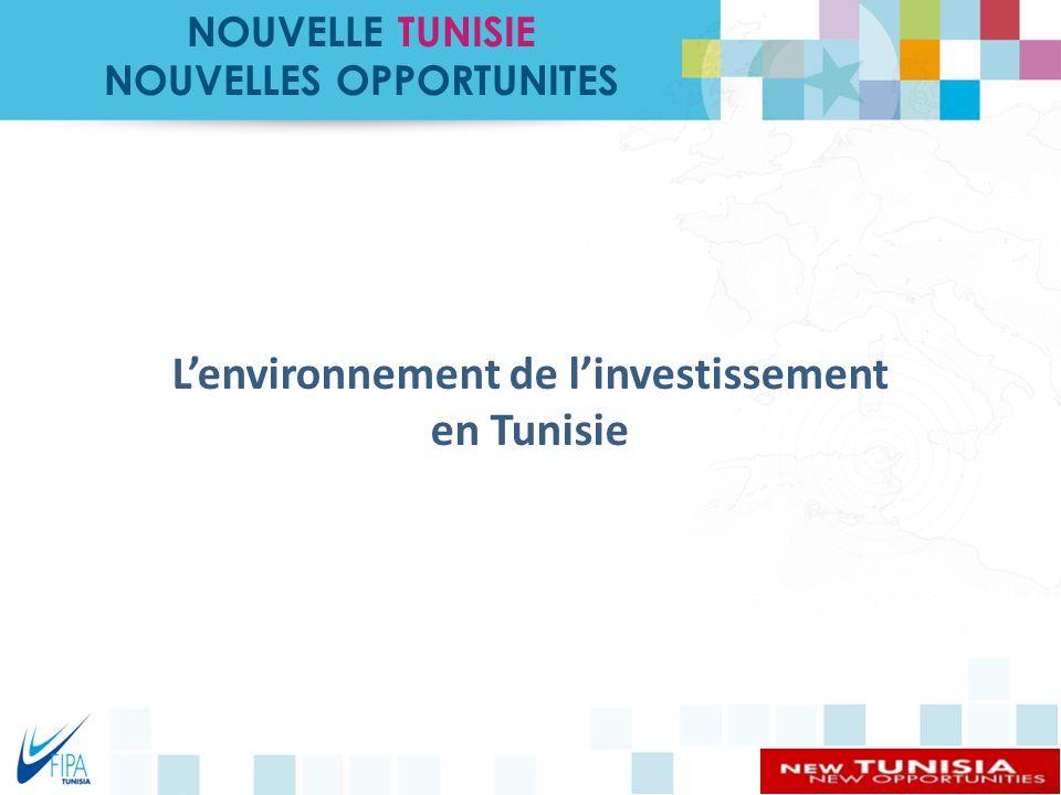 NOUVELLES OPPORTUNITES L'environnement de l'investissement en Tunisie