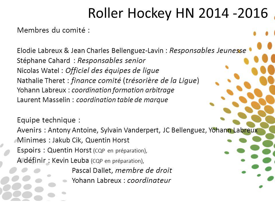 Roller Hockey HN 2014 -2016 Membres du comité : Equipe technique :