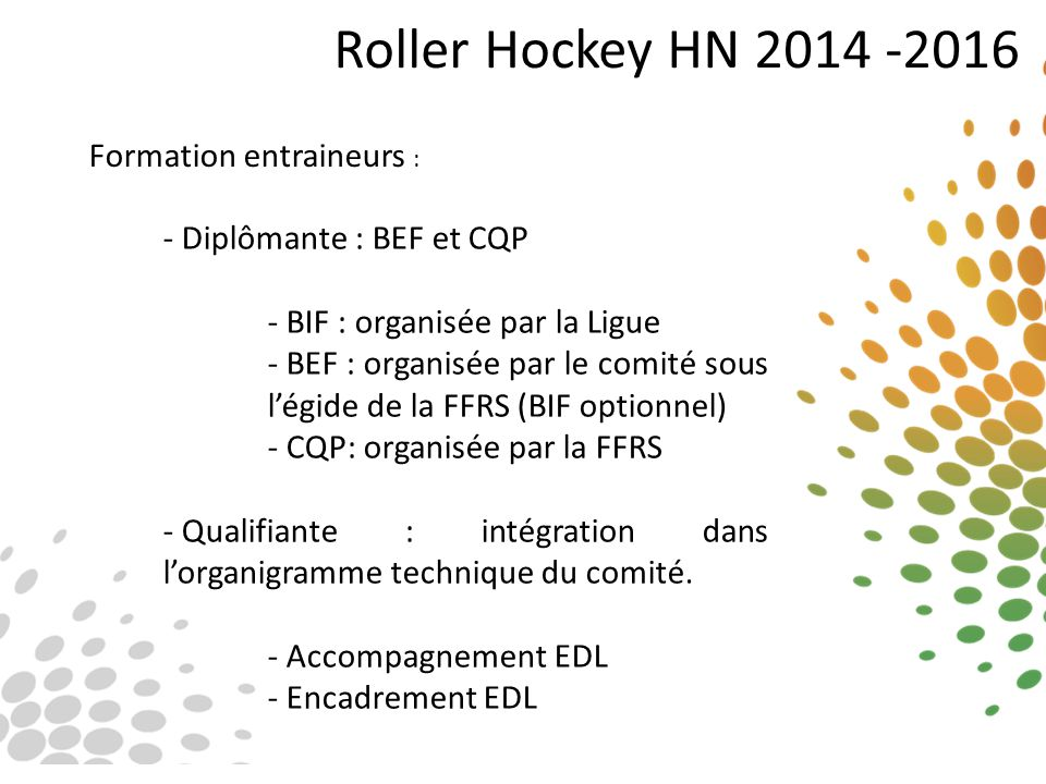 Roller Hockey HN 2014 -2016 Formation entraineurs :
