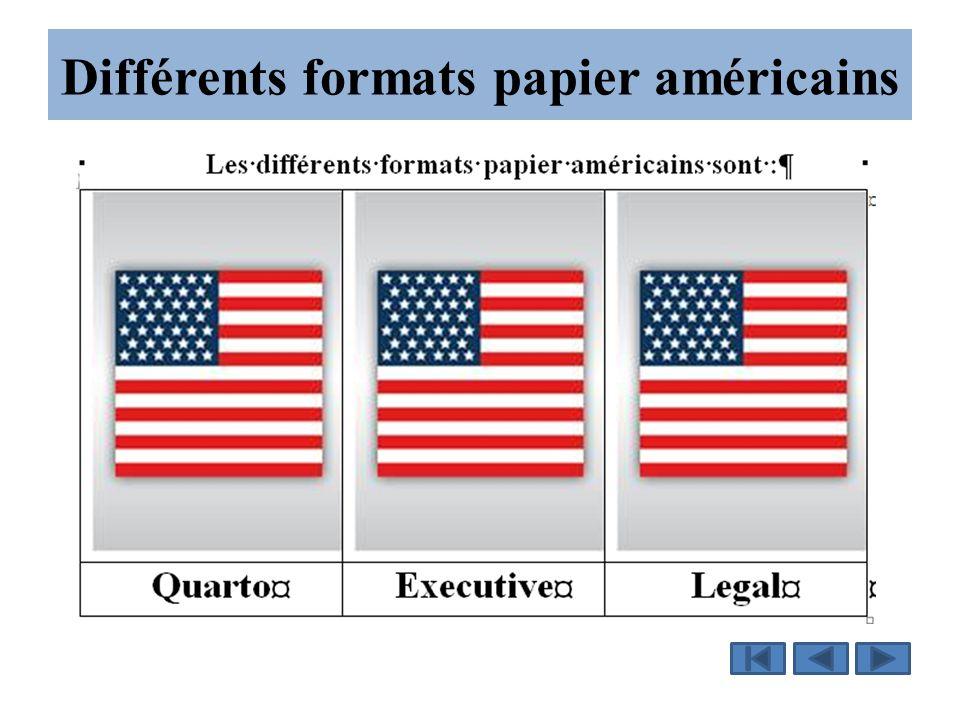 Différents formats papier américains