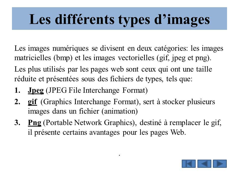 Les différents types d'images