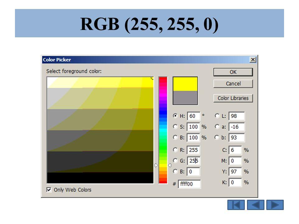 RGB (255, 255, 0)