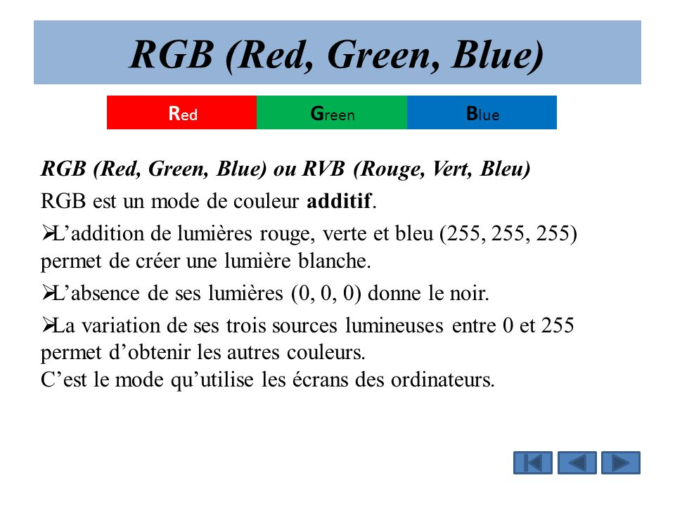 RGB (Red, Green, Blue) Blue Green Red