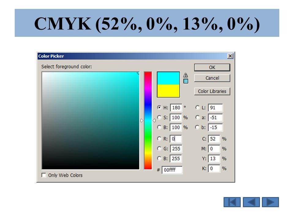CMYK (52%, 0%, 13%, 0%)