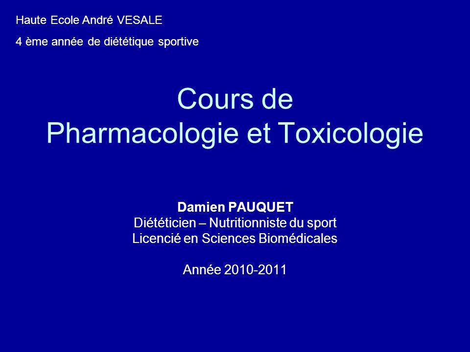 Cours de Pharmacologie et Toxicologie