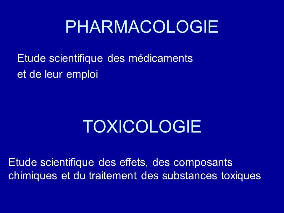 PHARMACOLOGIE TOXICOLOGIE Etude scientifique des médicaments