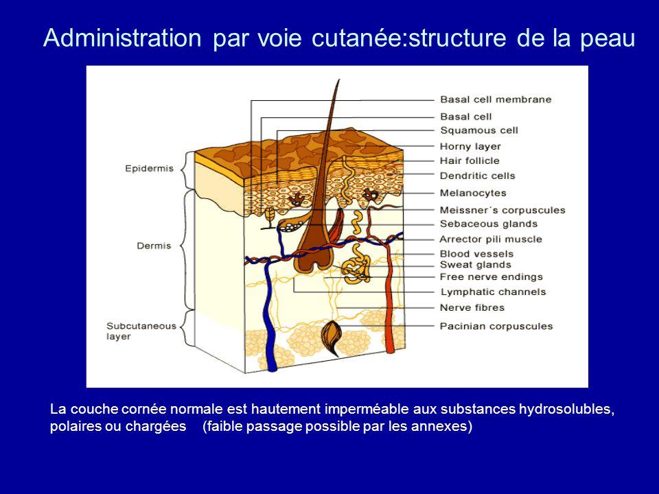 Administration par voie cutanée:structure de la peau