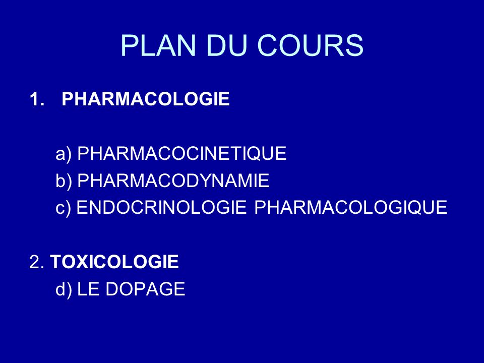 PLAN DU COURS PHARMACOLOGIE a) PHARMACOCINETIQUE b) PHARMACODYNAMIE