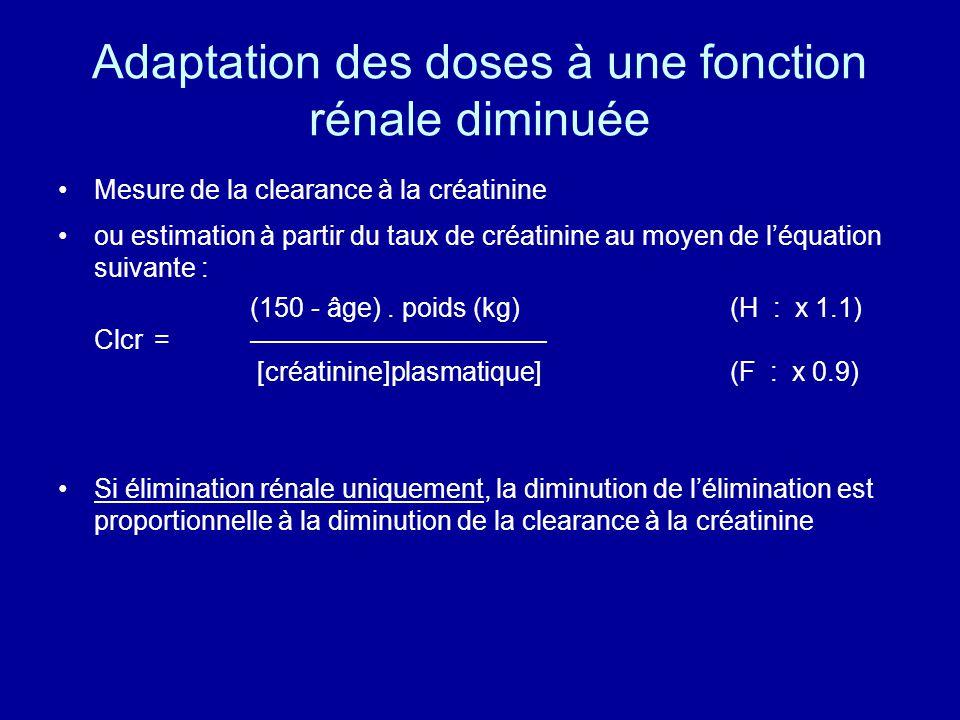 Adaptation des doses à une fonction rénale diminuée