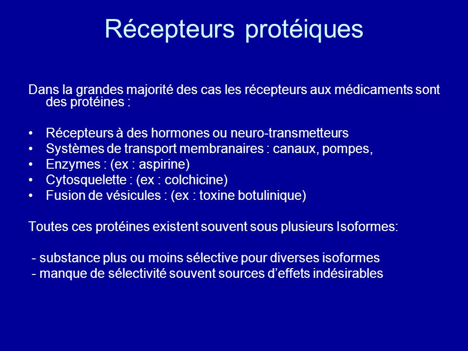 Récepteurs protéiques