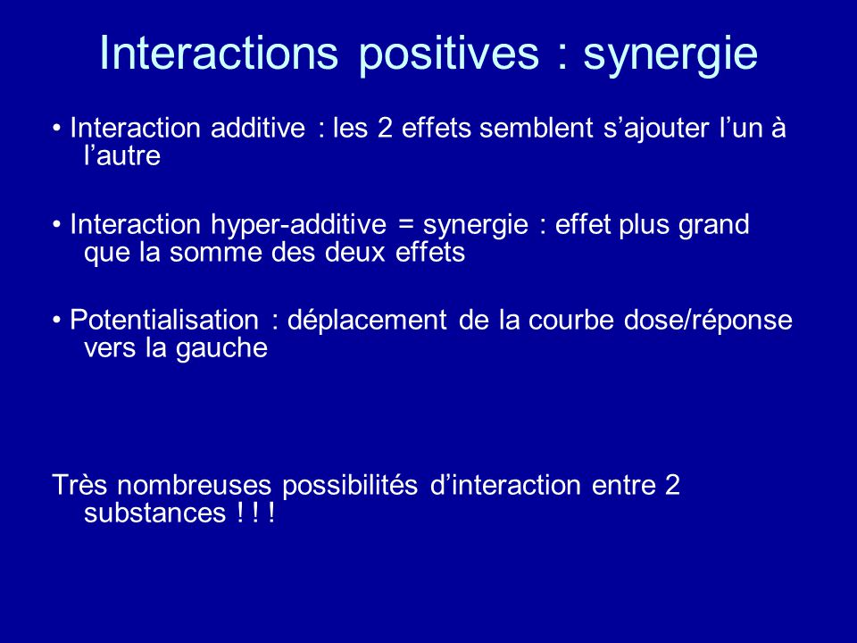 Interactions positives : synergie