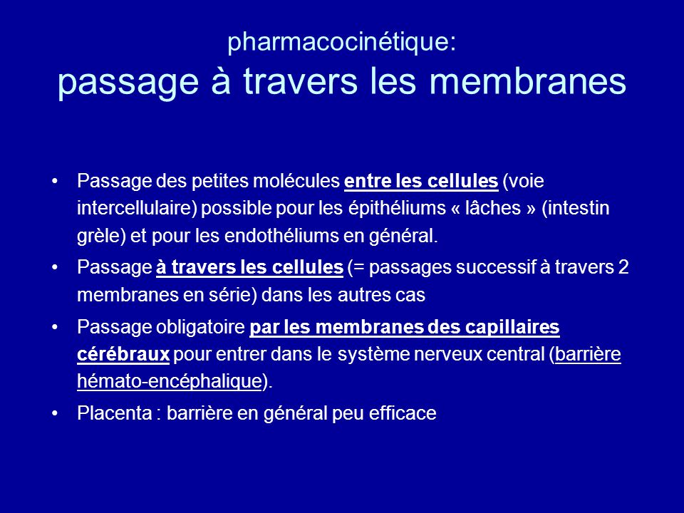 pharmacocinétique: passage à travers les membranes
