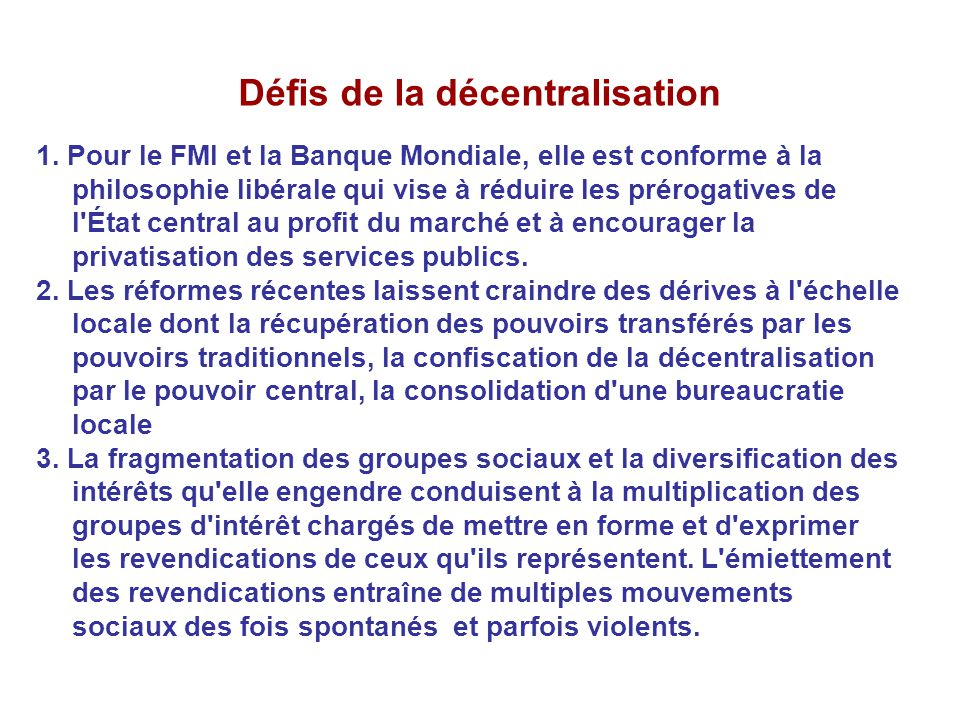 Défis de la décentralisation