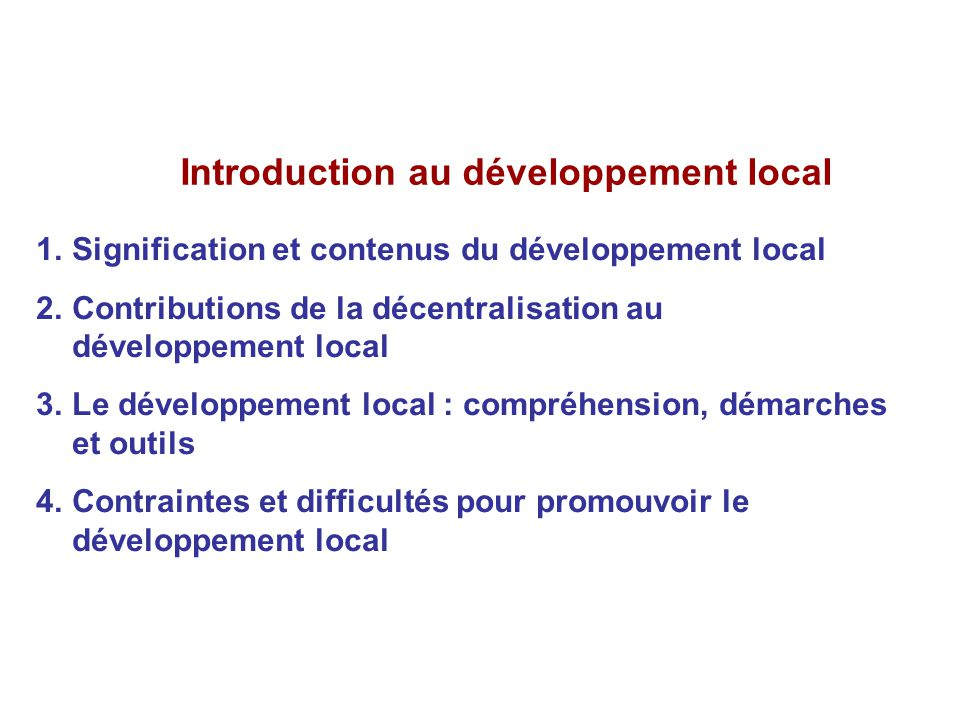 Introduction au développement local