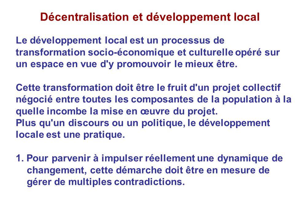 Décentralisation et développement local