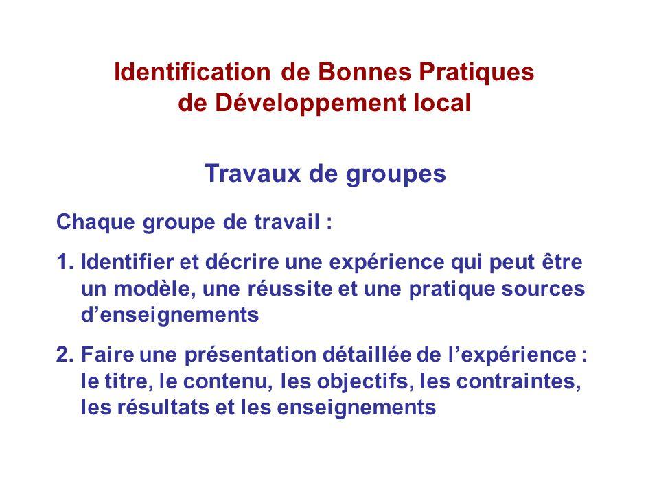Identification de Bonnes Pratiques de Développement local