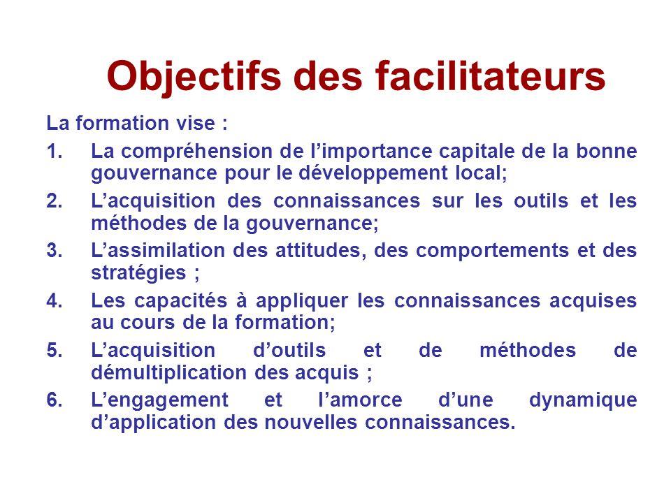 Objectifs des facilitateurs