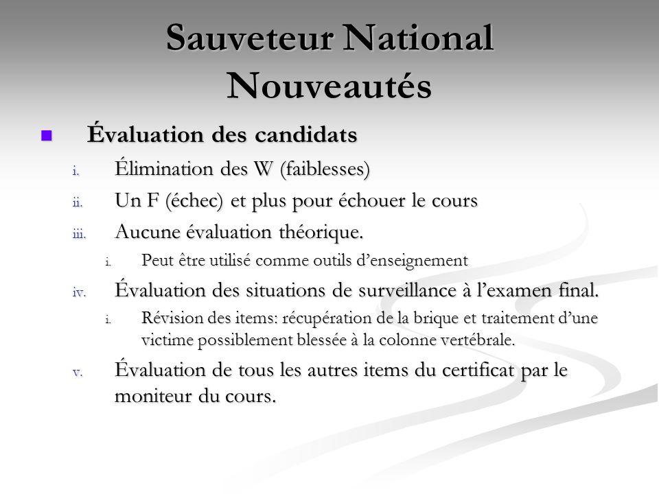 Sauveteur National Nouveautés