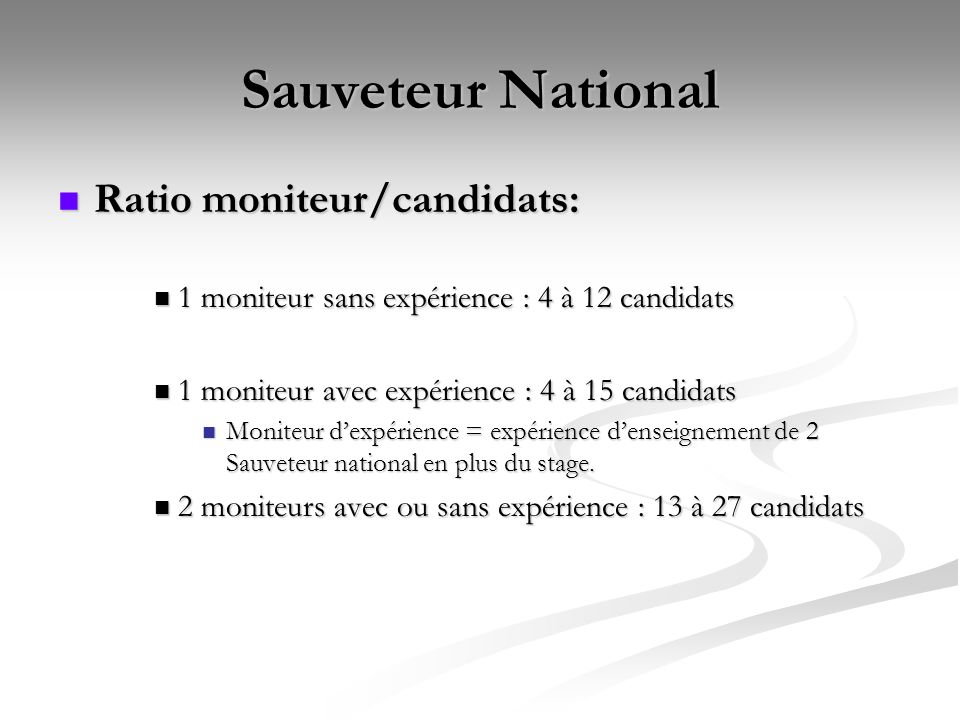 Sauveteur National Ratio moniteur/candidats: