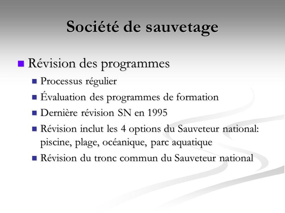 Société de sauvetage Révision des programmes Processus régulier