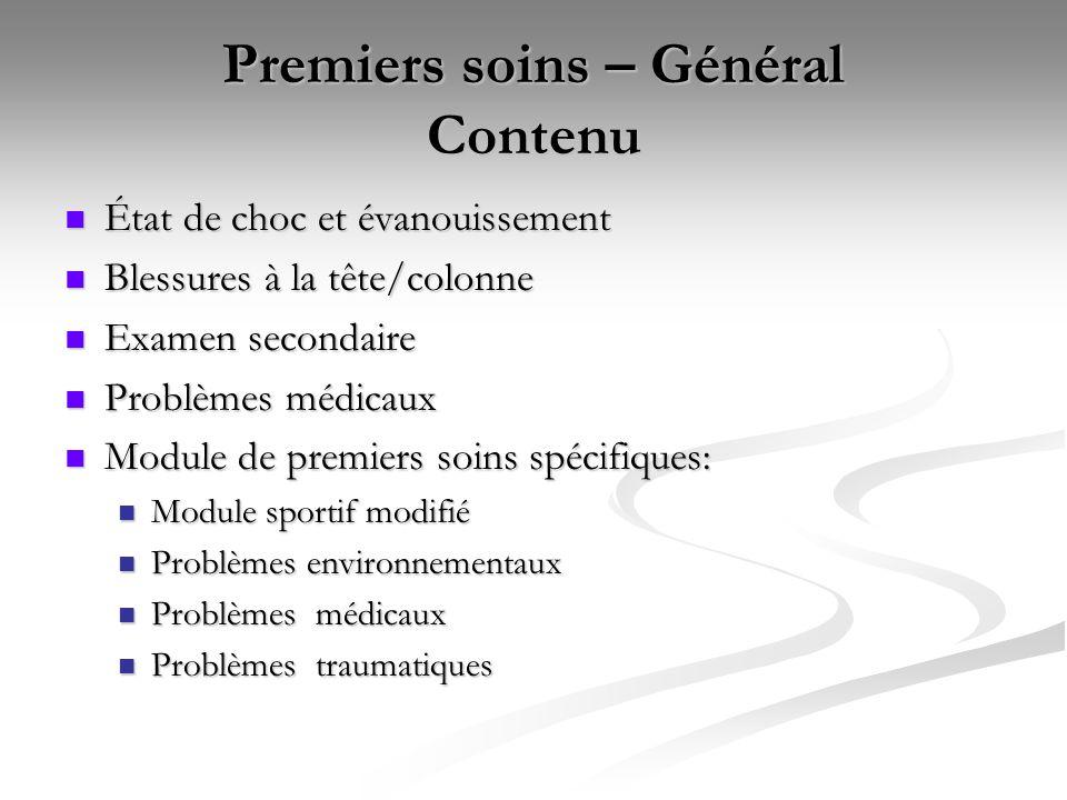 Premiers soins – Général Contenu