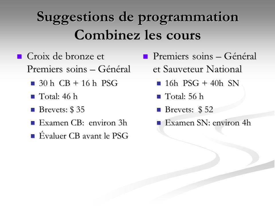 Suggestions de programmation Combinez les cours