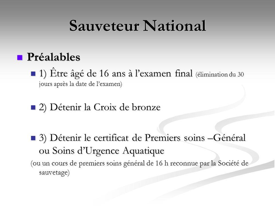 Sauveteur National Préalables
