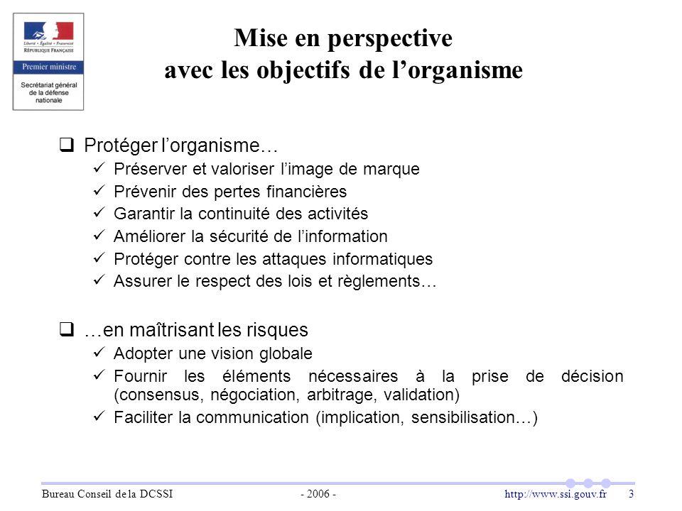 Mise en perspective avec les objectifs de l'organisme