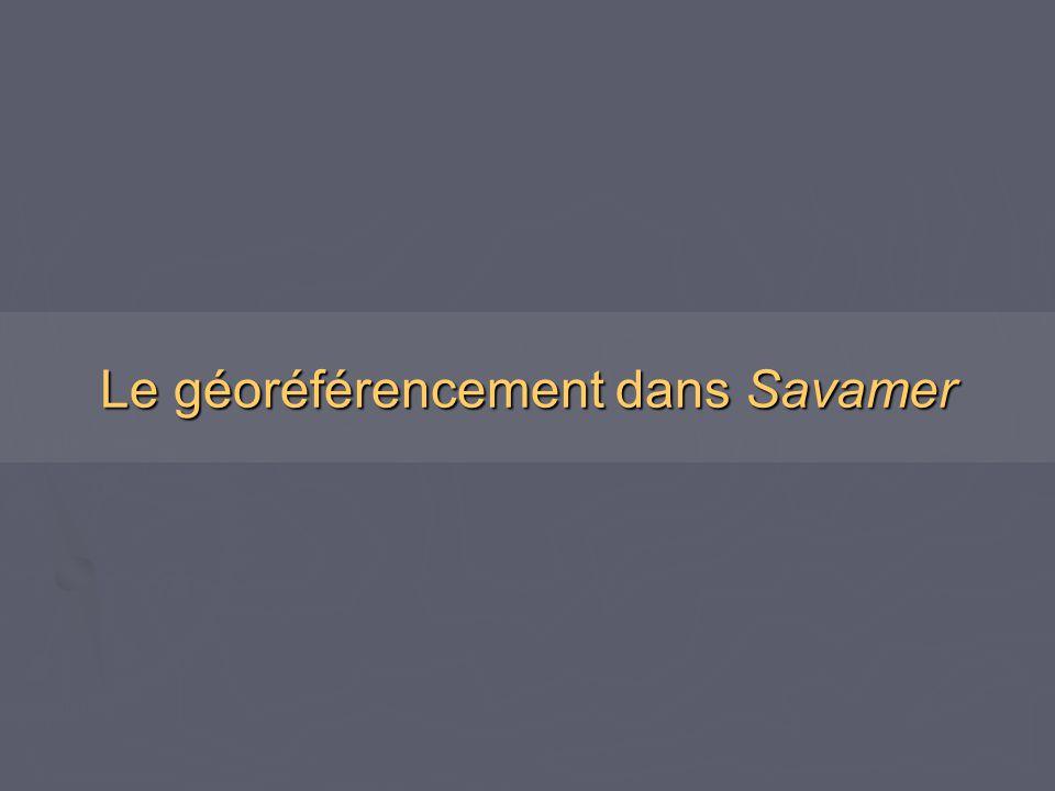 Le géoréférencement dans Savamer