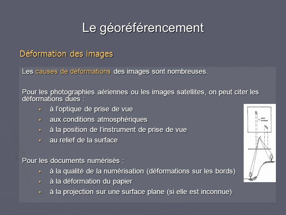 Le géoréférencement Déformation des images