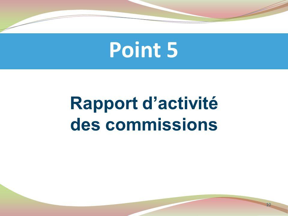 Rapport d'activité des commissions