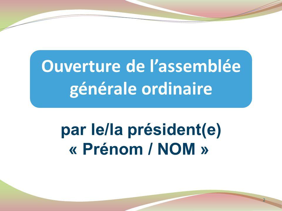 Ouverture de l'assemblée générale ordinaire par le/la président(e)