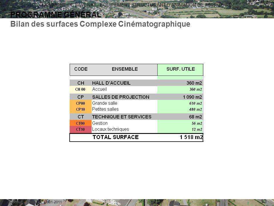 Bilan des surfaces Complexe Cinématographique