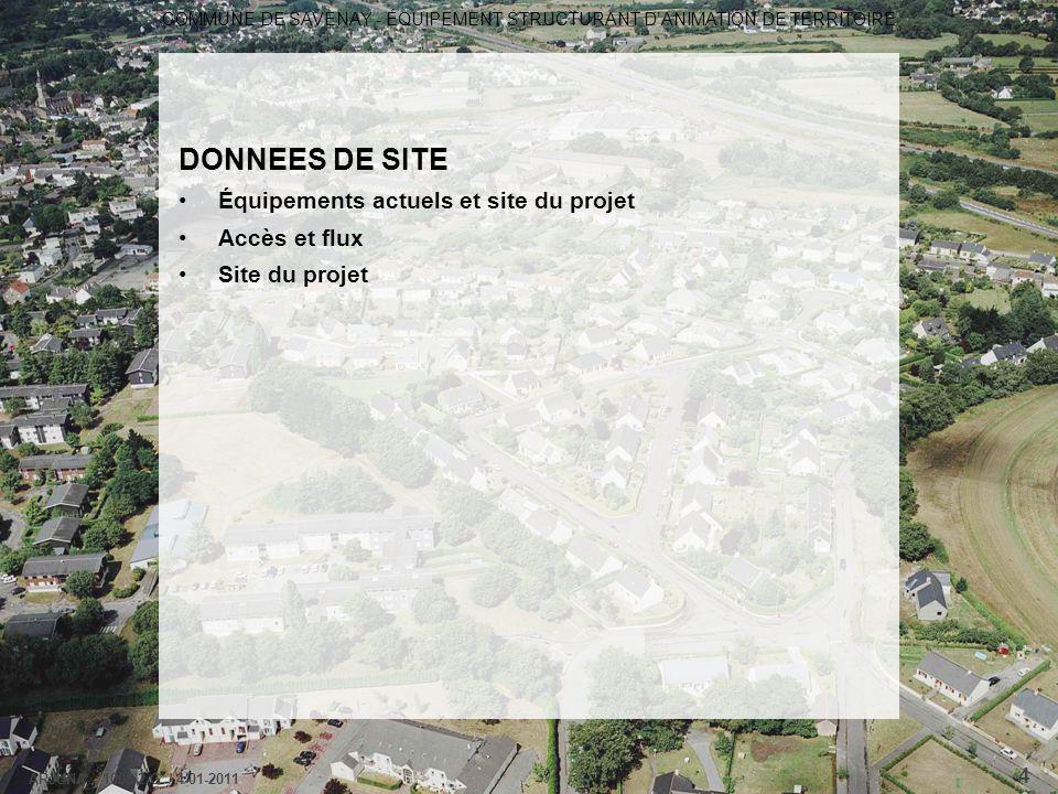 DONNEES DE SITE Équipements actuels et site du projet Accès et flux