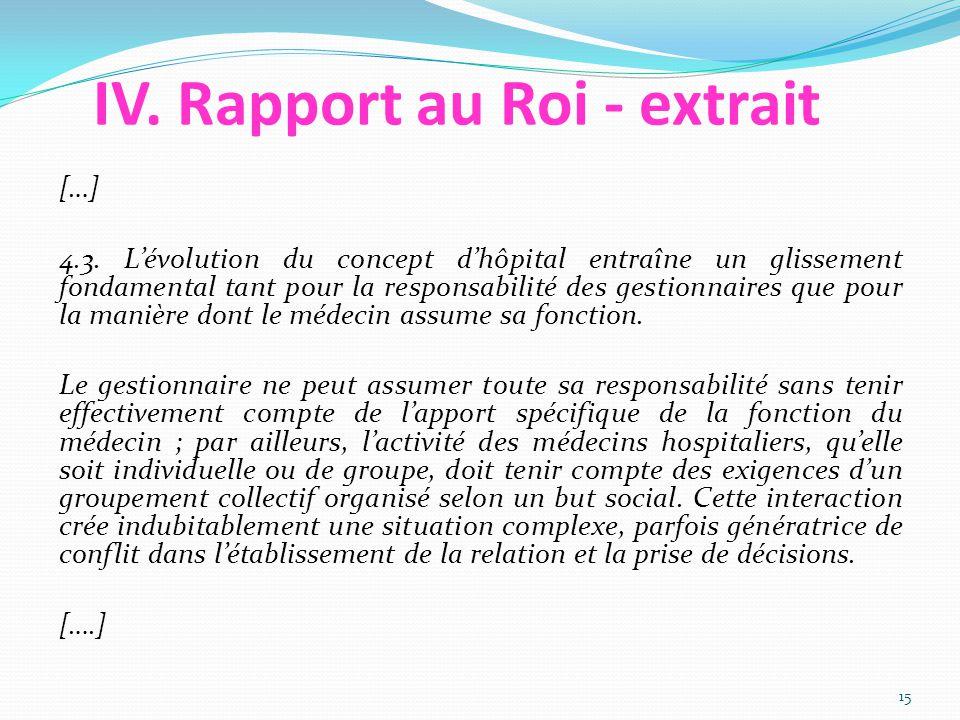 IV. Rapport au Roi - extrait