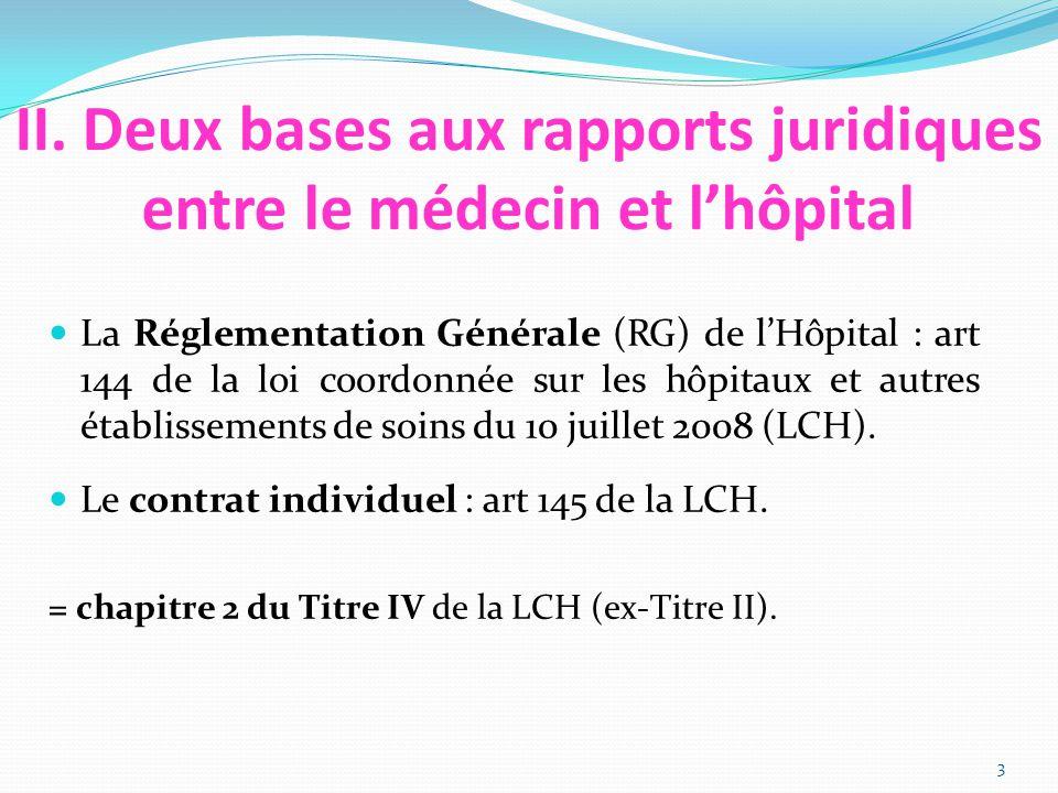 II. Deux bases aux rapports juridiques entre le médecin et l'hôpital