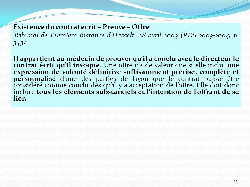 Existence du contrat écrit – Preuve – Offre Tribunal de Première Instance d'Hasselt, 28 avril 2003 (RDS 2003-2004, p.